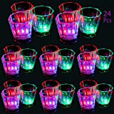 Flash Light Up Cups Set 24 Pcs, Shot Glasses, Fun Cups, LED Drinking Blinking Barware for Bar, Night Club,Birthday Party, Chr