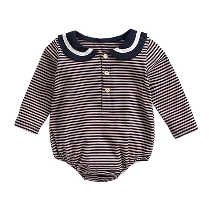 3add4f388ac3 Amazon.com  KUKEONON Newborn Baby Girls Long Sleeve Romper Button ...
