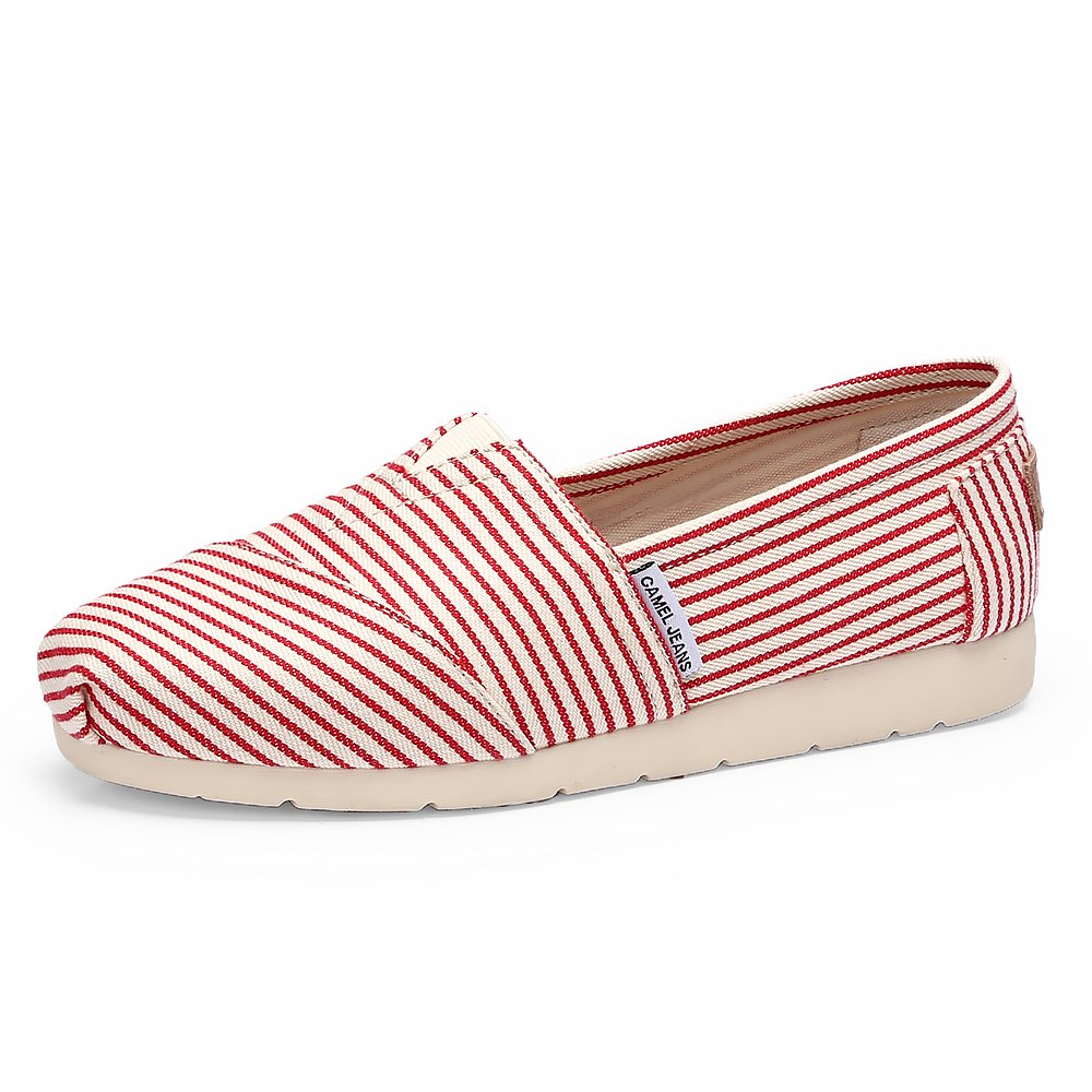 Camel Canvas Shoes for Women Slip on Sneakers for Women Driving Shoes for Women Casual Summer Slip on Womens Loafers Flats Red 8 B(M) US