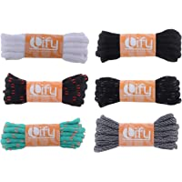 """Lify Oval / Half Round Shoelaces - 6MM (1/4"""" Inch) Wide - Shoe Laces For All types of Shoes & Sneakers-White, Black, Black/ Red, Black/ Grey, Baby Blue/ Orange & Black/White Lines - Available in 90CM ( 35.43'' Inch) & (120CM ( 47.25'' Inch)- 6 Pair Pack"""