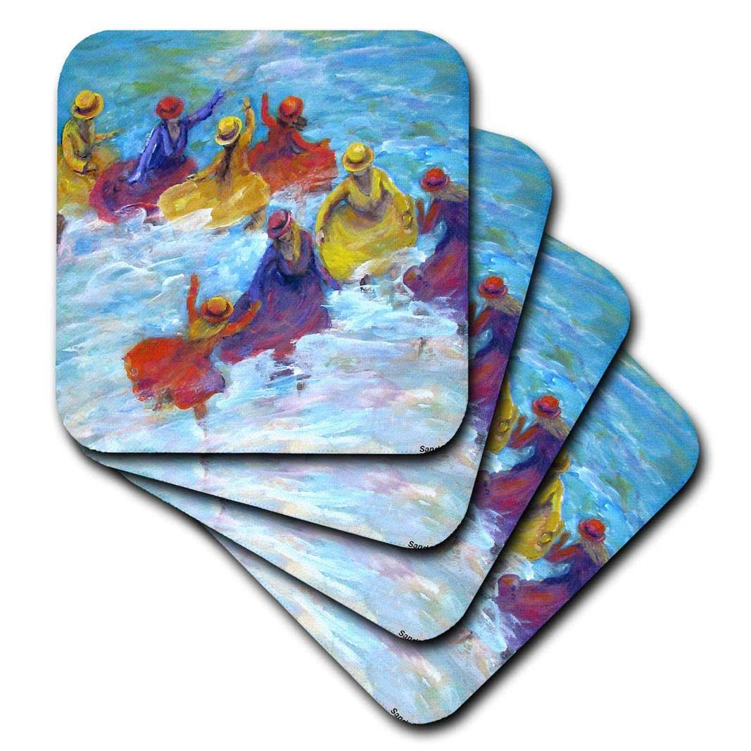 Set of 8 3dRose CST/_66361/_2 Surf Dancers Girls in Jewel Colored Dresses Play in Ocean-Soft Coasters