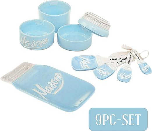 Amazon.com: Mason Jar cerámica 3 piezas menaje y medición ...