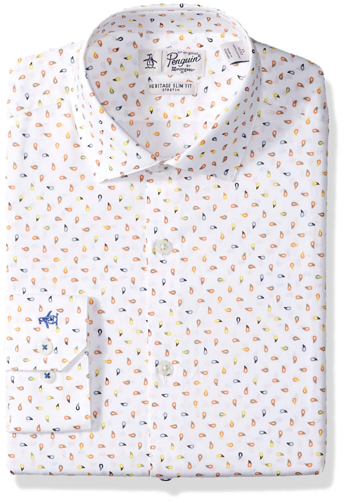 Original Penguin Men's Slim Fit Performance Spread Collar Printed Dress Shirt, White Print, 15.5 32/33