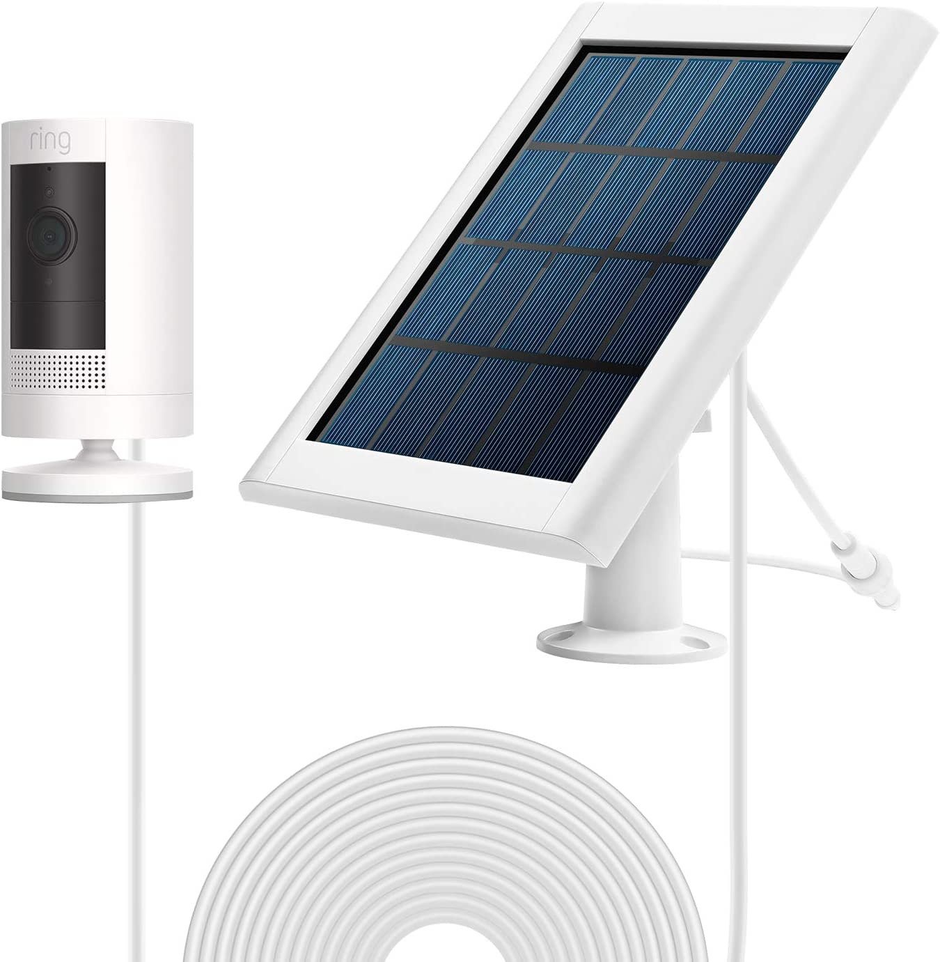 No Include Camera Output,Includes Secure Wall Mount,3.8M//12 ft Power Cable Waterproof Charge Continuously,5 V// 3.5 W ,White Max OLAIKE Solar Panel for Spotlight Cam Battery /& Stick Up Battery Cam
