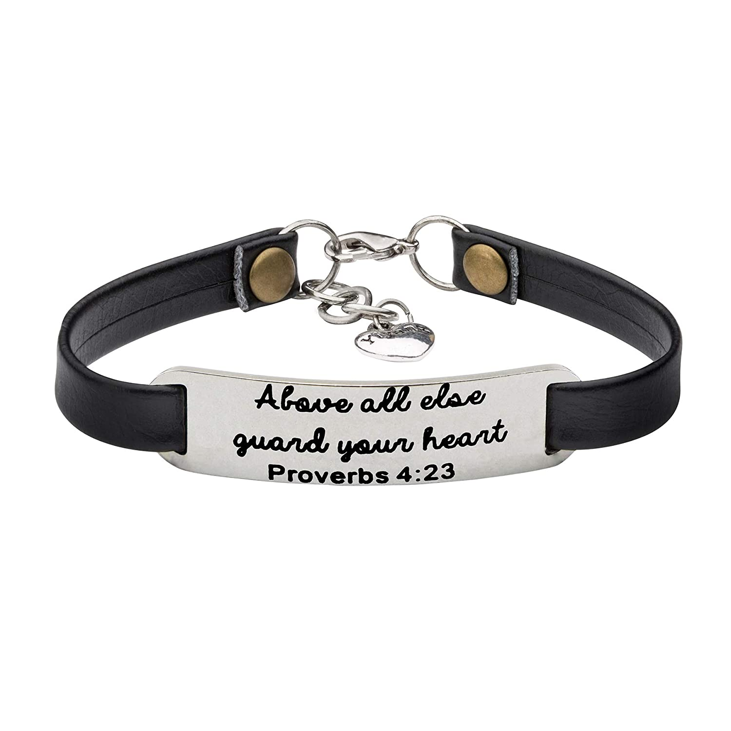 UNQJRY Religious Bracelets for Women Christian Leather Bracelet Inspirational Gifts for Her