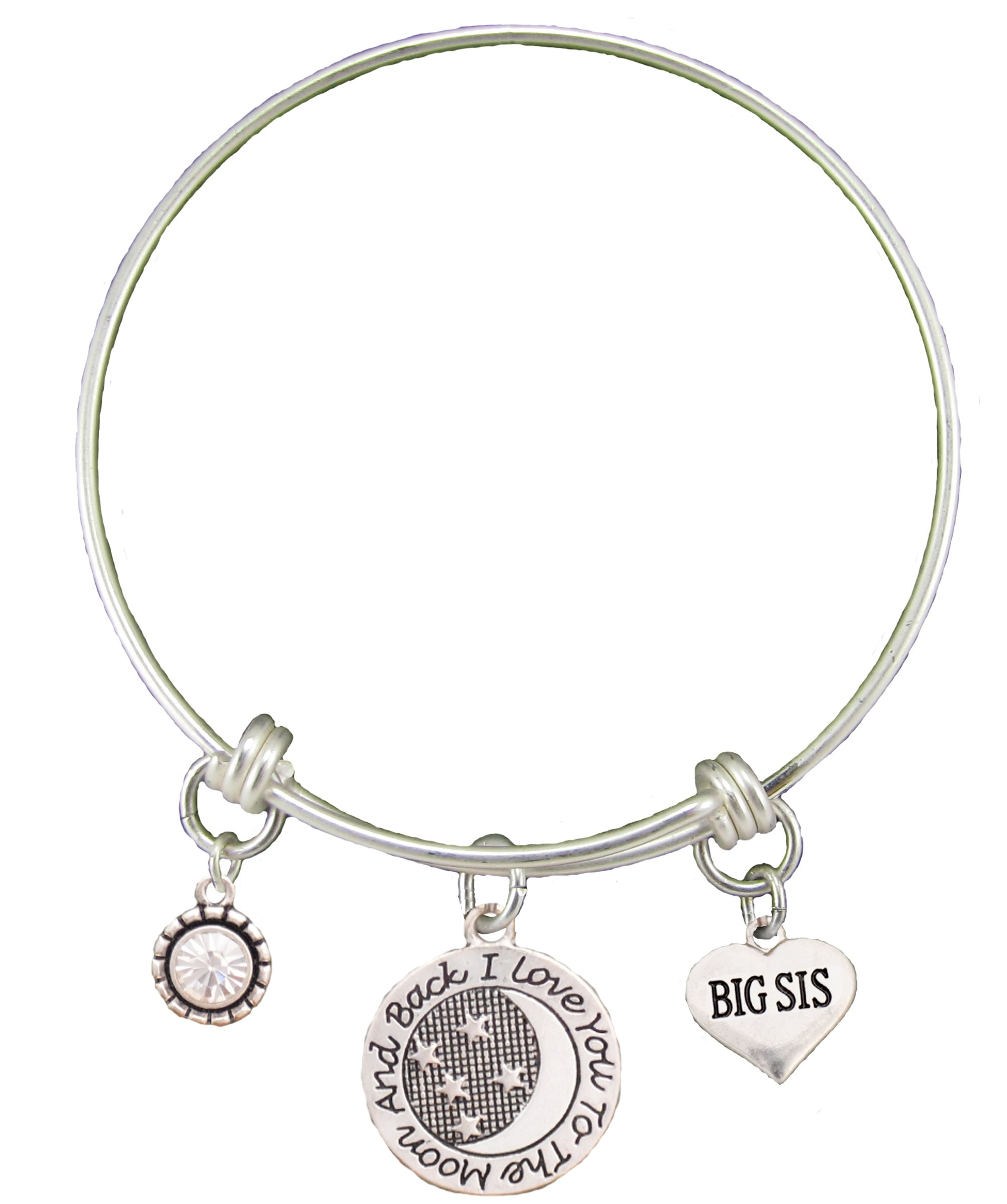 Big Sis Love You To The Moon Silver Wire Adjustable Bracelet Sister Jewelry Gift