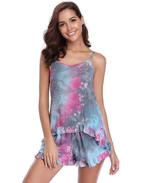 Sykooria Pijamas Corto Mujer Verano Sexy y Elegante 2 Piezas para Ropa de Dormir,Suave