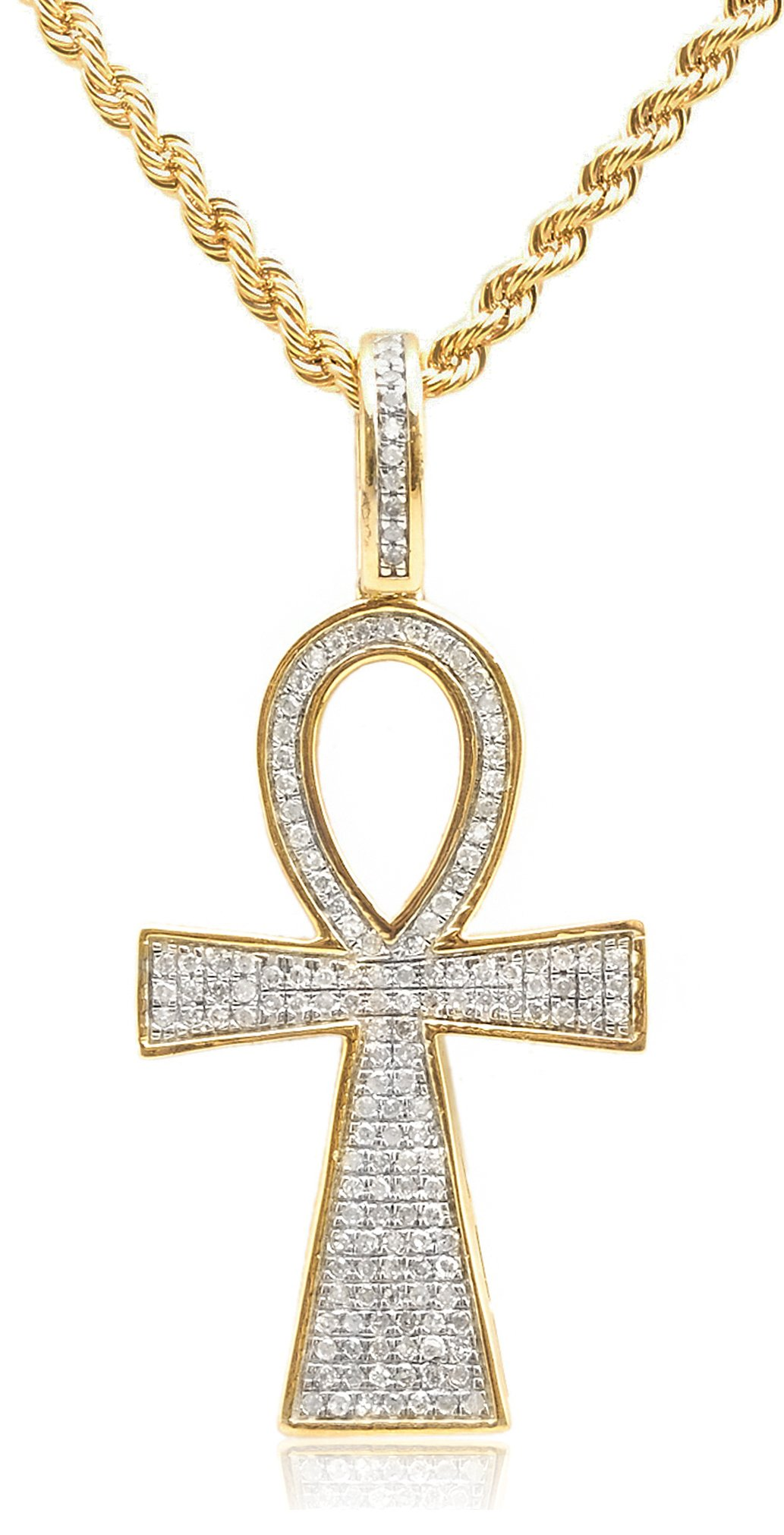 10K Yellow Gold .40 Cttw Diamond Ankh Cross Pendant & 10K 2mm 24 Inch Rope Necklace