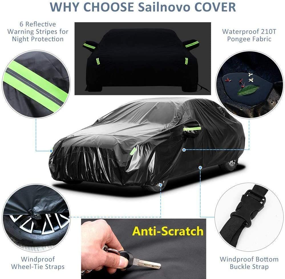 Universal UV Protective Windproof Black Auto Car Covers for Sedan up to 192 Sailnovo Car Cover Waterproof All Weather Sedan Cover for Outdoor//Indoor