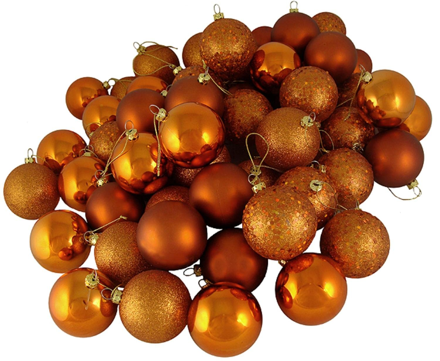 amazoncom 60ct burnt orange shatterproof 4 finish christmas ball ornaments 24 60mm home kitchen - Orange Christmas Decorations