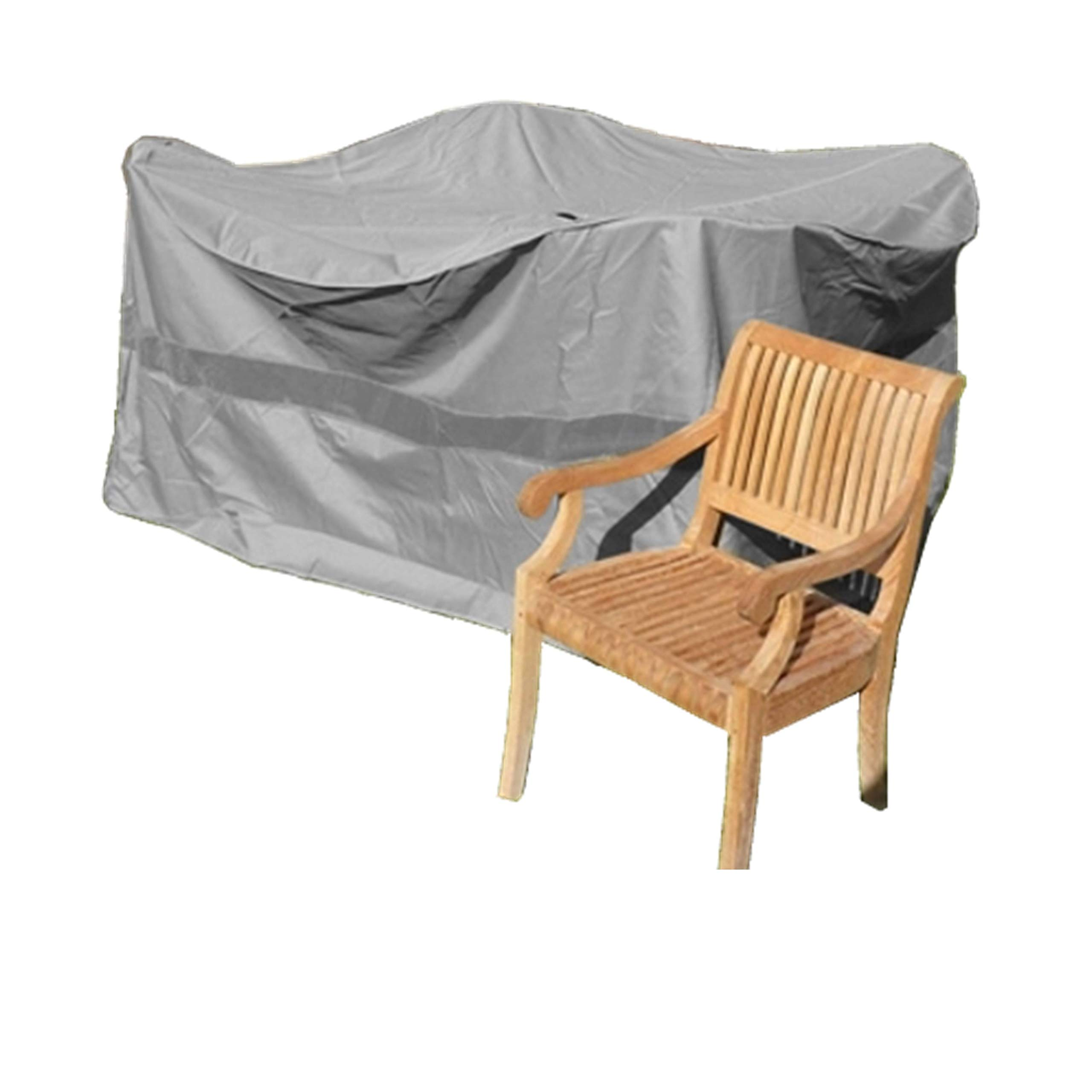 Formosa Covers Premium Tight Weave Bar High Dining Set Cover 98'' Dia. x 41'' H, Fully Covered top NO Umbrella Center Hole in Grey by Formosa Covers