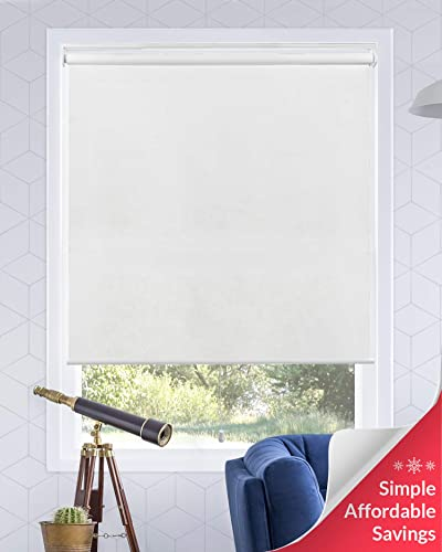 Chicology Cordless Roller Shades Snap-N -Glide, Light FilteringPerfect for Living Room Bedroom Nursery Office and More.Urban White Light Filtering , 27 W X 72 H
