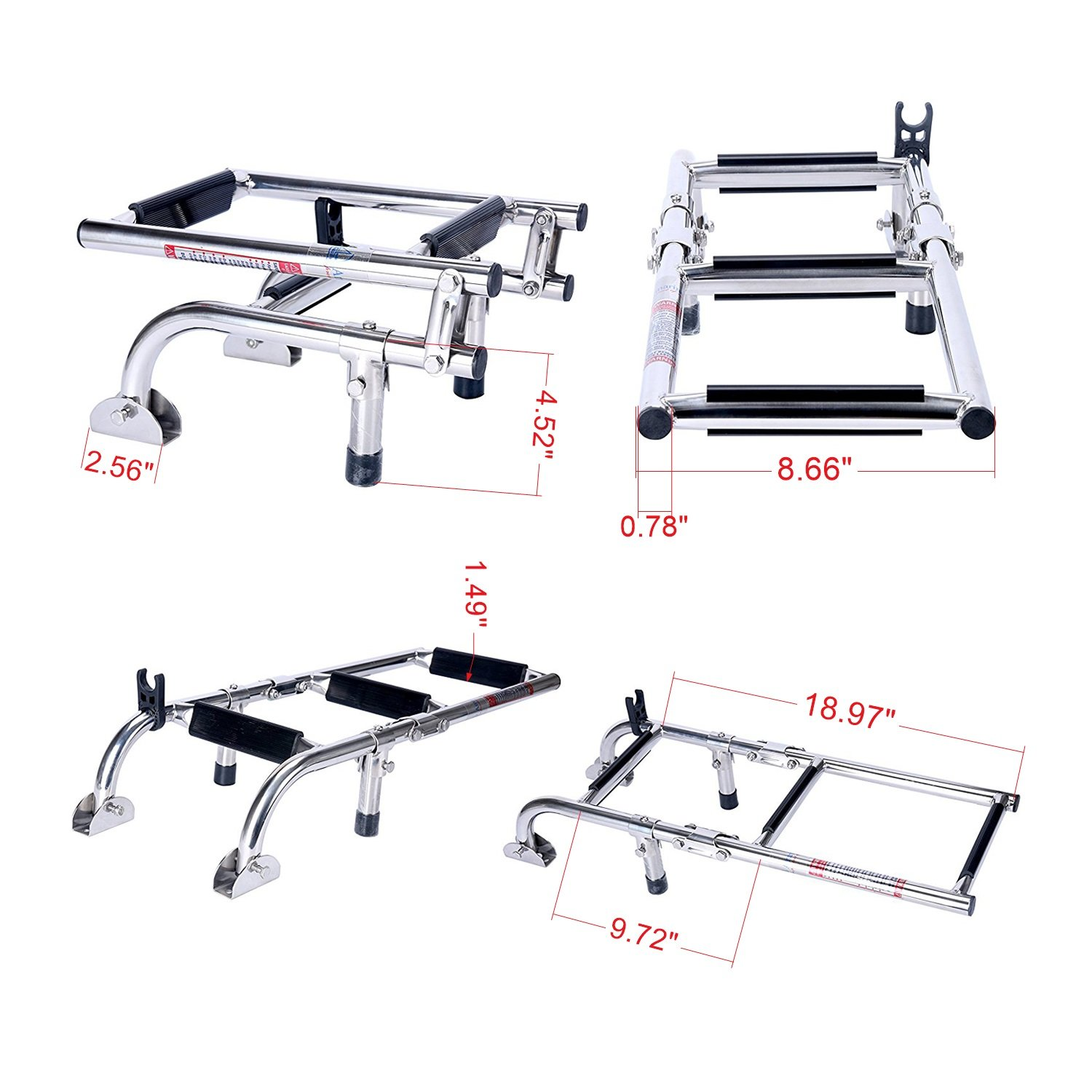 Amarine Made Marine Boat Foldable Stainless Steel 3 Steps Ladders Stern Mount W Rubber Grips by Amarine Made
