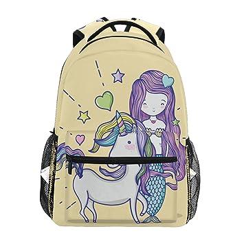 ad65b05e02a TropicalLife Mermaid Girl Unicorn Backpacks School Bookbag Shoulder Backpack  Hiking Travel Daypack Casual Bags