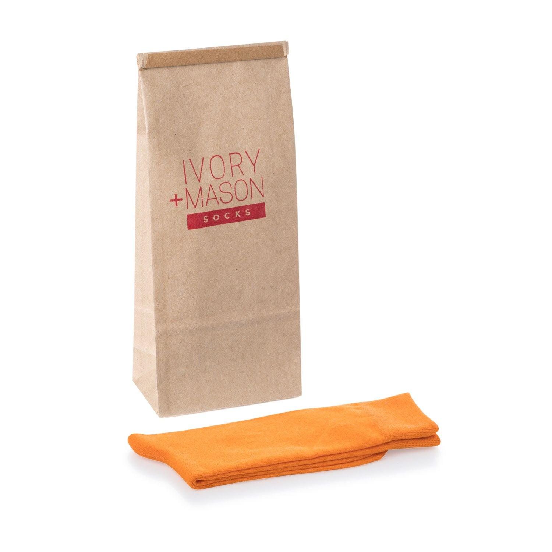 Colorful Mason Dress Socks for Men Ivory Premium Cotton Orange Color Size 8-13 One Pair