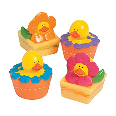 Fun Express - Spring Flowers Rubber Duckies for Spring - Toys - Character Toys - Rubber Duckies - Spring - 12 Pieces: Toys & Games