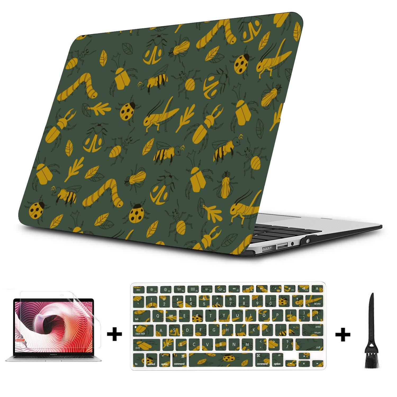 2018 MacBook Pro Case Small Cute Cartoon Reptile Silkworm Plastic Hard Shell Compatible Mac Air 11 Pro 13 15 MacBook Air Accessories Protection for MacBook 2016-2019 Version