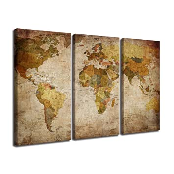 Amazon canvas prints posters wall art vintage world map canvas prints posters wall art vintage world map painting ready to hang 3 pieces large framed gumiabroncs Choice Image