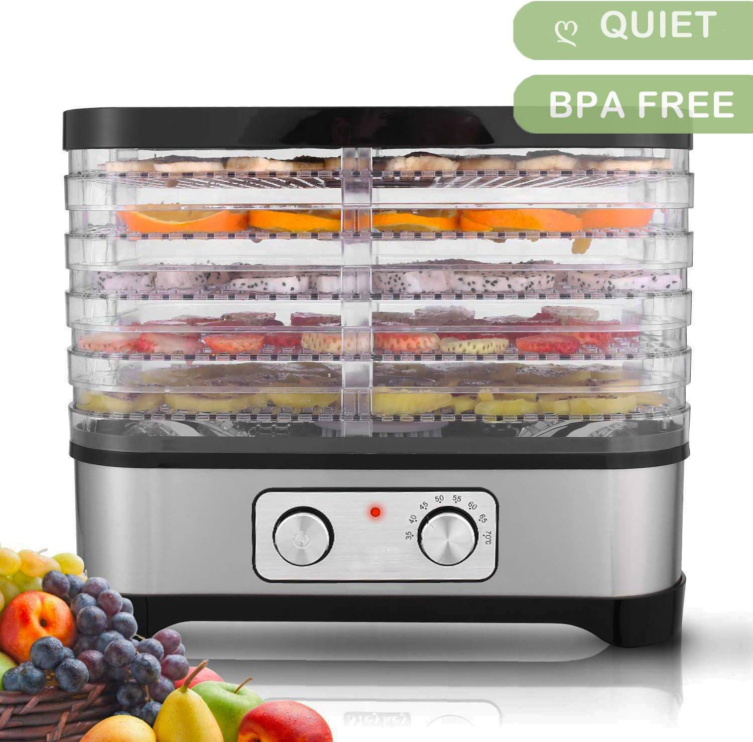 Hosmat Food Dehydrator Machine – Professional Electric Multi-Tier Food Preserver, Meat or Beef Jerky Maker, Fruit Vegetable Dryer with 5 Stackable Trays, Temperature Control Black