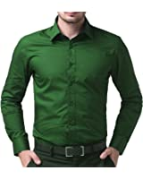 Being Fab Men's Solid 100% Cotton Regular Fit Casual Dark Green Shirt