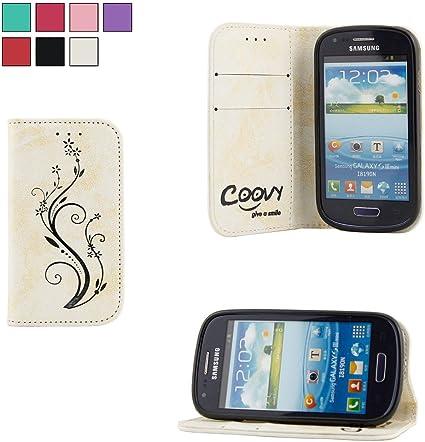COOVY® Étui pour Samsung Galaxy S3 Mini GT-i8200 GT-i8190 GT-i8195 Coque, boîte de Carte de crédit, Fermeture aimantée Station Debout, écran de ...