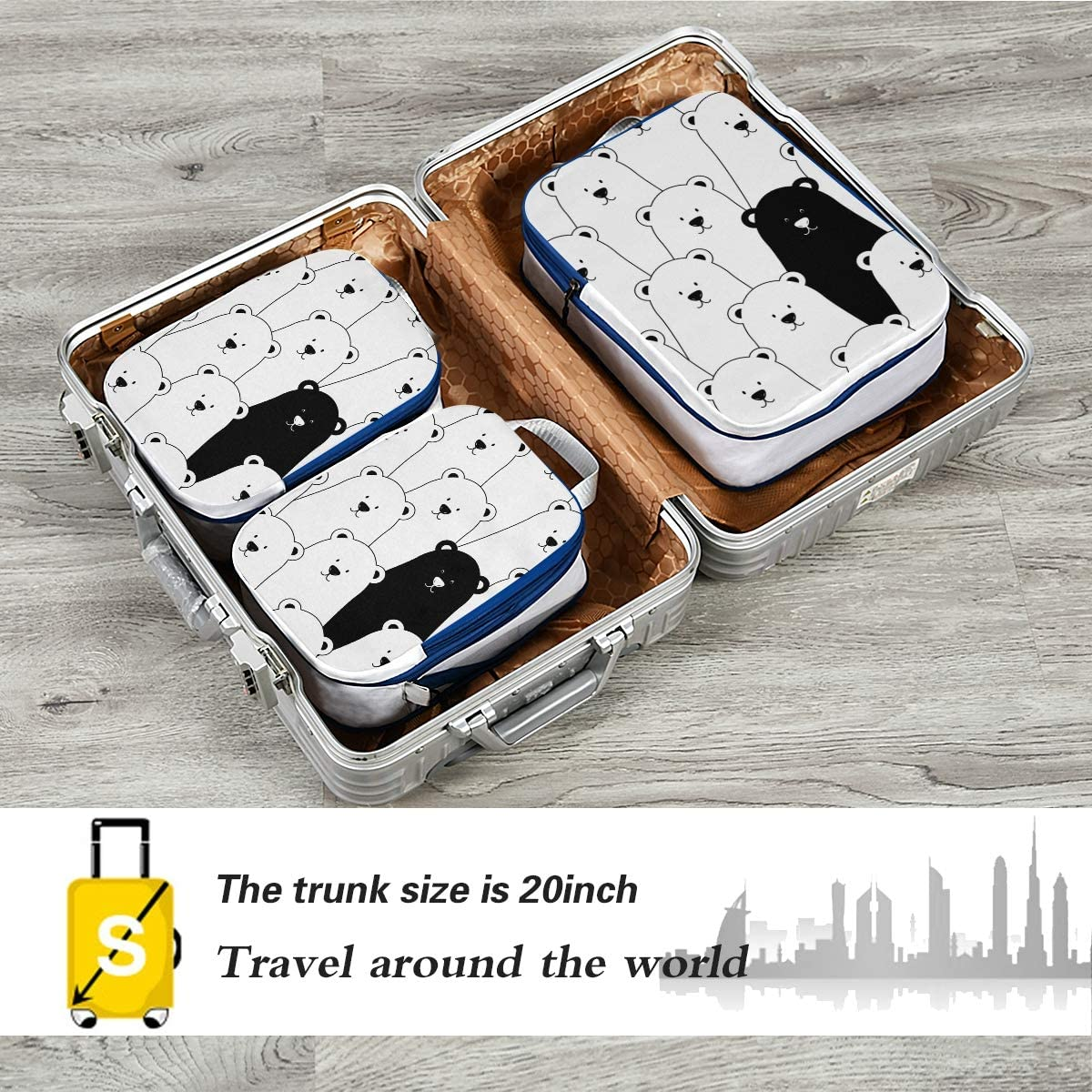 t Cute Animal Bear 3 Set Packing Cubes,2 Various Sizes Travel Luggage Packing Organizers