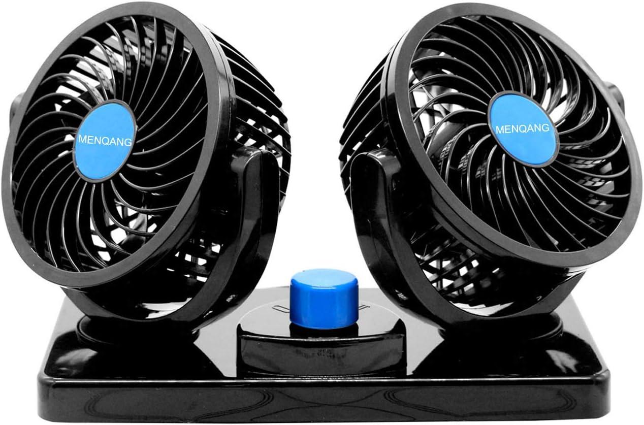Ventilador de Coche 360 ° Giratorio Cabezas Dobles Ventilador 12v con Encendedor de Cigarrillos Potente Silencioso 2 Velocidades Aire Acondicionado Coche para SUV RV ATV Barco Carro.