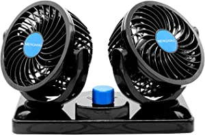 MENQANG 12V Electric Car Cooling Fan 360° Rotatable Dual Heads Air Circulator Fan Manual Rotation 2 Speed. (Balck)