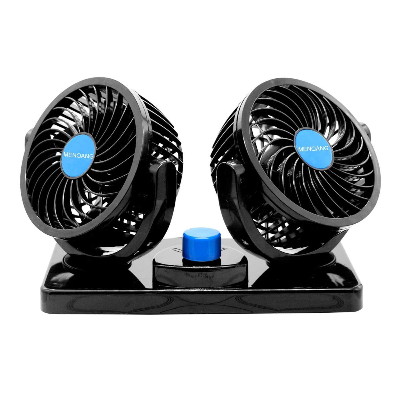MENQANG 12V Electric Car Cooling Fan 360 Degree Rotatable Dual Heads Air Circulator Fan Manual Rotation 2 Speed Dual Head