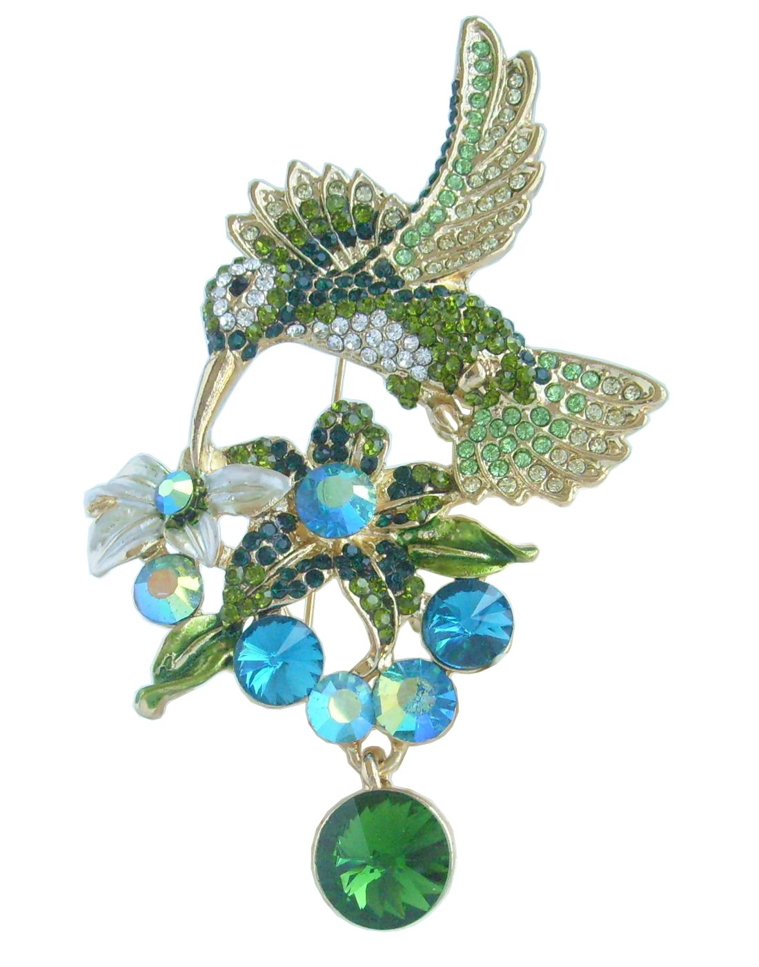 Sindary Pretty 3.54'' Animal Pendant Hummingbird Brooch Pin Rhinestone Crystal BZ6385 (Gold-Tone Green)