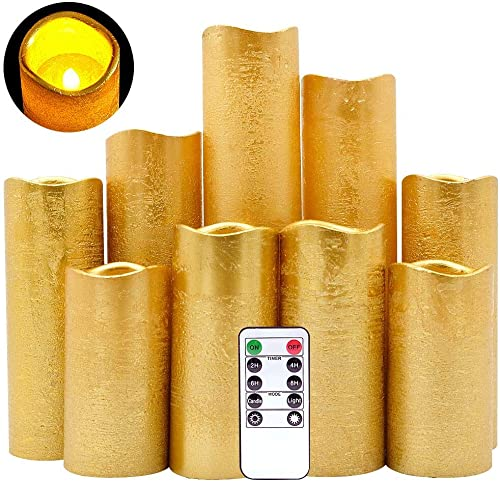 DRomance Flameless Flickering Candles Battery Operated with Remote and Timer, Set of 9 Gold Coating Real Wax Warm Light LED Pillar Candles for Holiday, Christmas Decoration Gold, 2.2 D x 4 -9 H