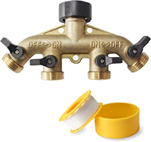YUEPIN Heavy Duty 4 Way Brass Hose Splitter 3/4 Inch,Garden Hose Distributor with 4 Shut-Off Valves
