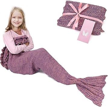 Ruvalino Meerjungfrau Schwanz Decke Für Geburtstags Geschenke Süße Träume Für Mädchen 3 12 Jährige Alle Jahreszeit Schlafsack Für Kinder 140 70 Cm