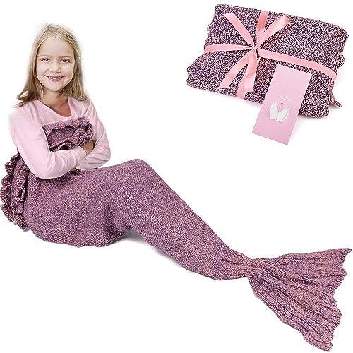 RUVALINO Gift For Girls Mermaid Tail Blanket Birthday Sweet Dreams