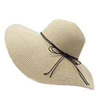 YUUVE Femme Chapeau de Paille Pliable Capeline Tresse Été Fedora Pare-Soleil Large Bord Plage Voyage