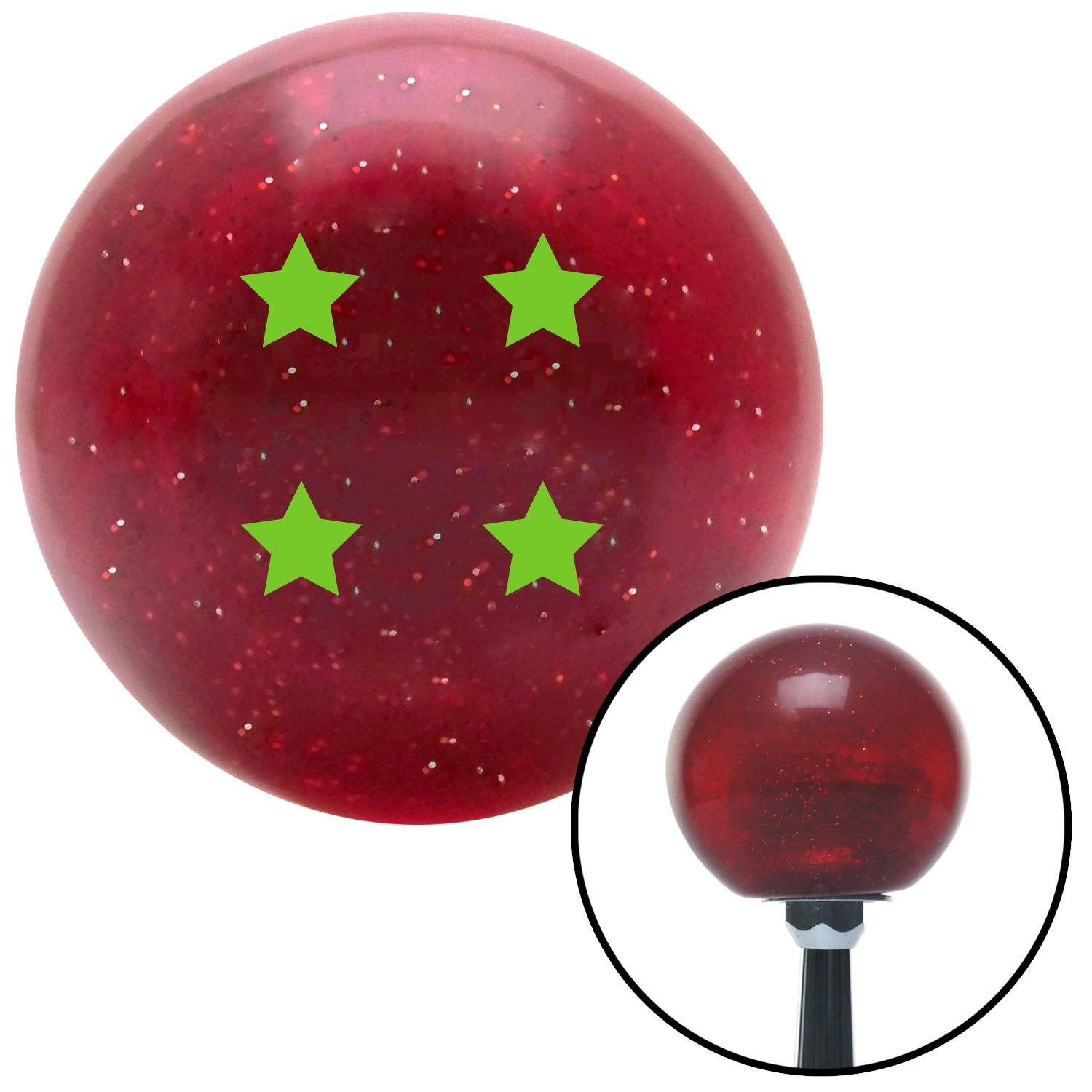 Green Dragon Ball Z - 4 Star American Shifter 141675 Red Metal Flake Shift Knob with M16 x 1.5 Insert