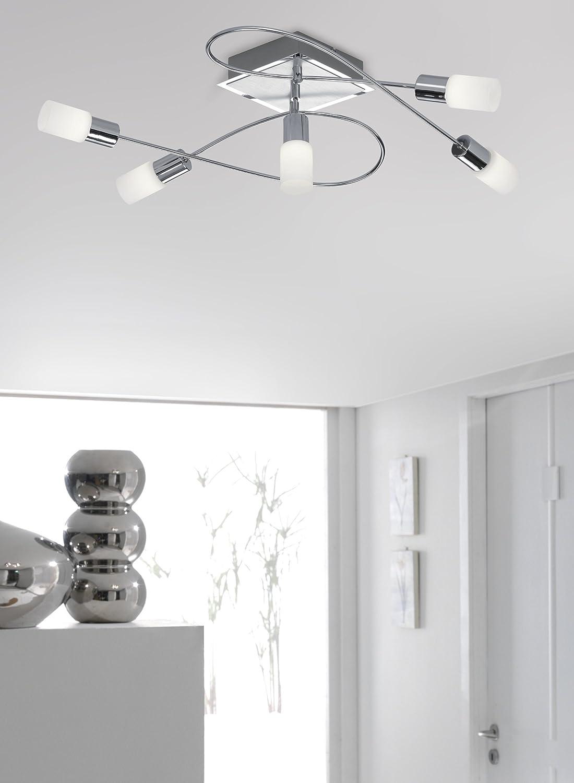 Trio-Leuchten LED-Deckenleuchte Aluminium gebürstet/chrom, Glas weiß ...
