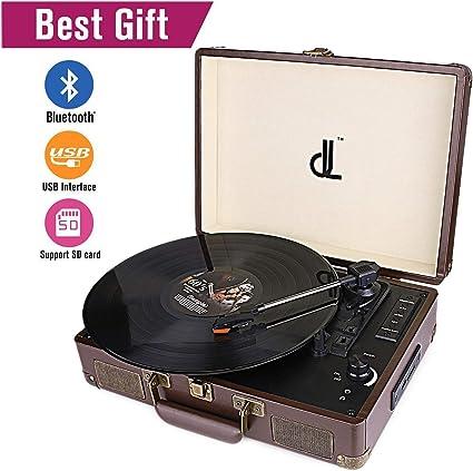 Portable Turntable Stereo Record Player Music Retro Vintage Speaker Vinyl USB