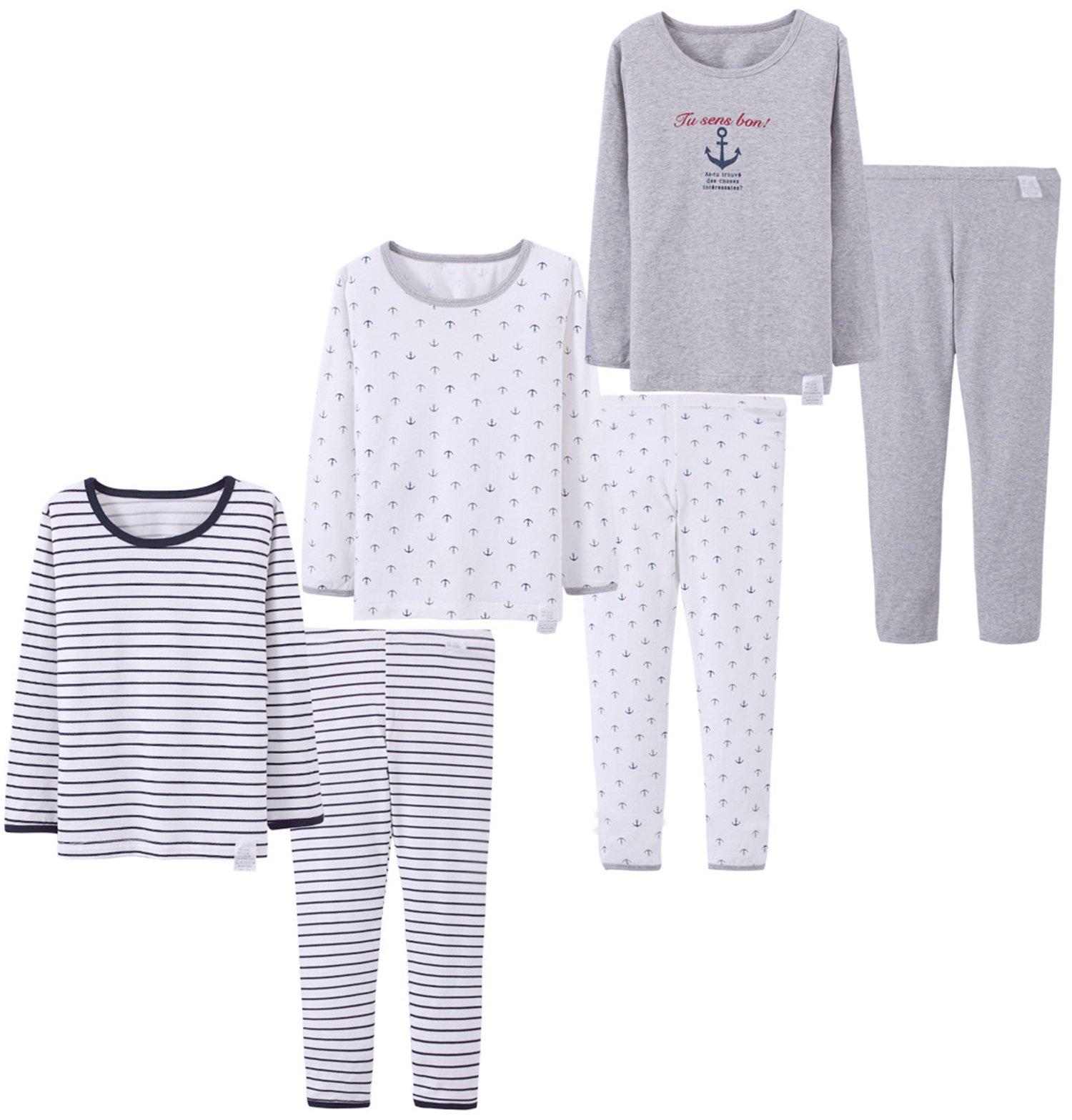 Abalacoco Big Girls Boys 3 Sets (6pcs) Cotton Longs sleeve Undershirts Autumn Winter Thermal Underwear Pants Suit 4-12T (Grey/White/Stripe, 8-9 Years)