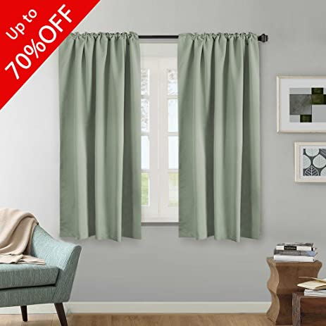 Blackout Thermal Insulated Curtains Pair Back Tab Rod Pocket Window Draperies