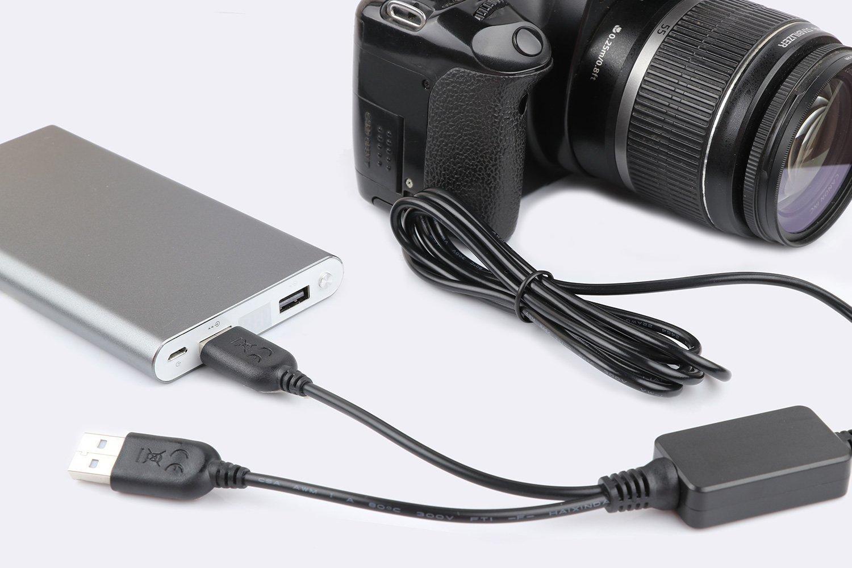 Bater/ía simulada ACK-E18 DR-E18 Dual USB Adaptador de corriente Kit de cargador de c/ámara para Canon Rebel T7i T6i T6s SL2 EOS 200D 750D 760D 800D 77D beso 8000D X8i