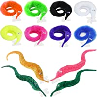 Happy Will 12 Pack Worm on a String Wiggly Fuzzy Worms Invisible Magic Worm Toys Trick Toys Carnival Party Favors for Kids Cat (4 Sparkling Colors 8 Pure Colors)