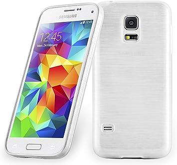 Cadorabo Funda para Samsung Galaxy S5 Mini / S5 Mini DUOS en Plata - Cubierta Proteccíon de Silicona TPU Delgada e Flexible con Antichoque - Gel Case Cover Carcasa Ligera: Amazon.es: Electrónica