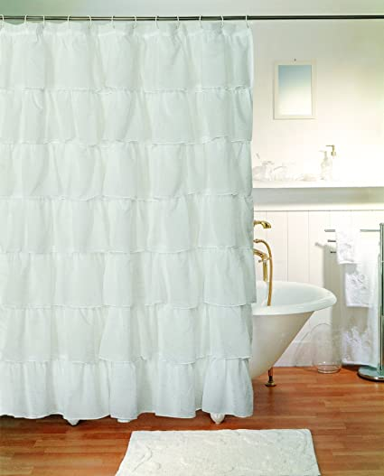 Superieur White 96u0026quot; Extra Long Gypsy Shabby Chic Ruffled Fabric Shower Curtain