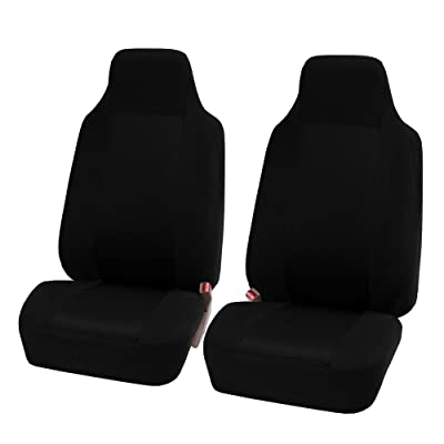 FH Group FB102BLACK102 Black Front Classic Cloth 3D Air mesh Bucket Auto Seat Cover, Set of 2: Automotive