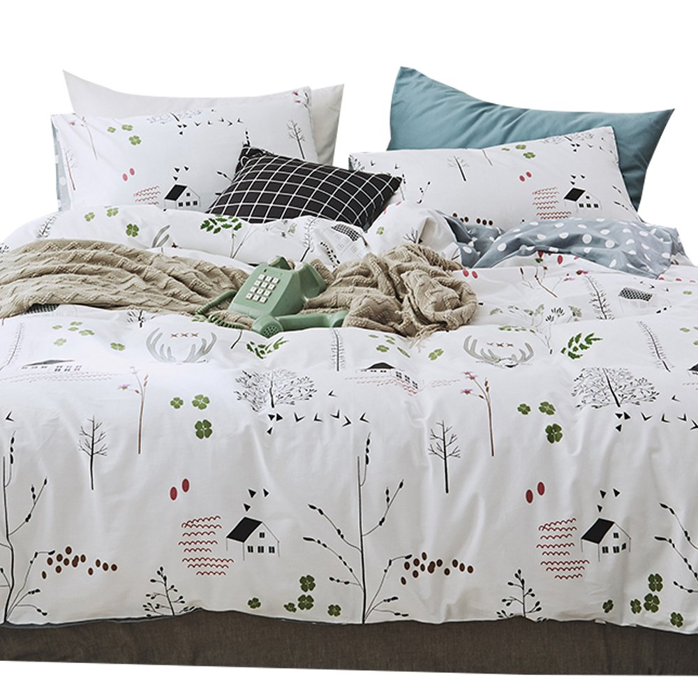 OTOB 3 Piece Deer Duvet Cover Set Luxury Ultra Soft Egyptian Quality Coziest, Full/Queen Elk Bedding Sets White Gray, Cartoon Deer and Geometric Dot Pattern