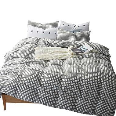 VM VOUGEMARKET Grid Duvet Cover Set King,Gray Plaid Checkered Cotton Duvet Cover Matching 2 Pillow Shams,Reversible Gingham Bedding Set-King,Style 2