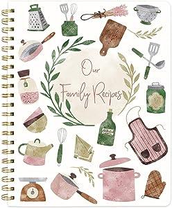 Recipe Notebook Blank Cookbook Spiral Recipe Journal Blank Recipe Book 8.5