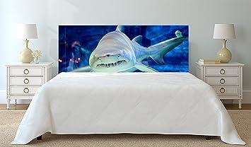 Kopfteil Bett PVC Digitaldruck Königliches Haifisch Peking Aquarium |  Verschiedene Maße 115x60cm | Einfache