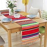 AerWo Mexican Table Runner Upgraded Serape Table Runner, Handwoven Fringe Cotton Serape Blanket Table Runner for Cinco…